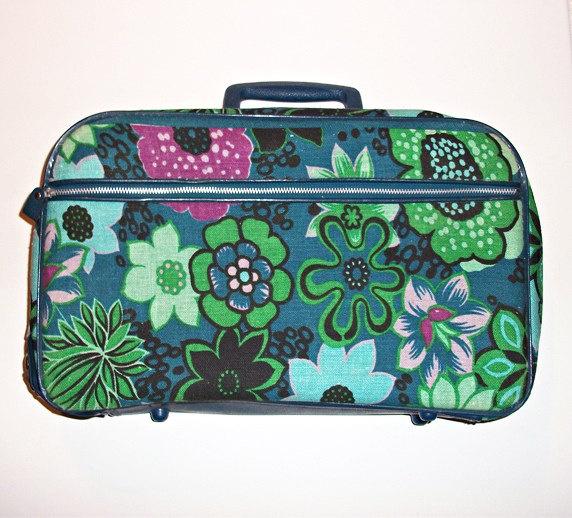 Vintage 1960s Vibrant Floral Cloth Luggage by lulusdressingroom
