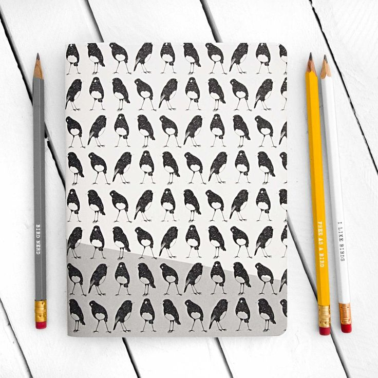 Robins Pattern Grey Notebook - Large - by The Paperbird Society.