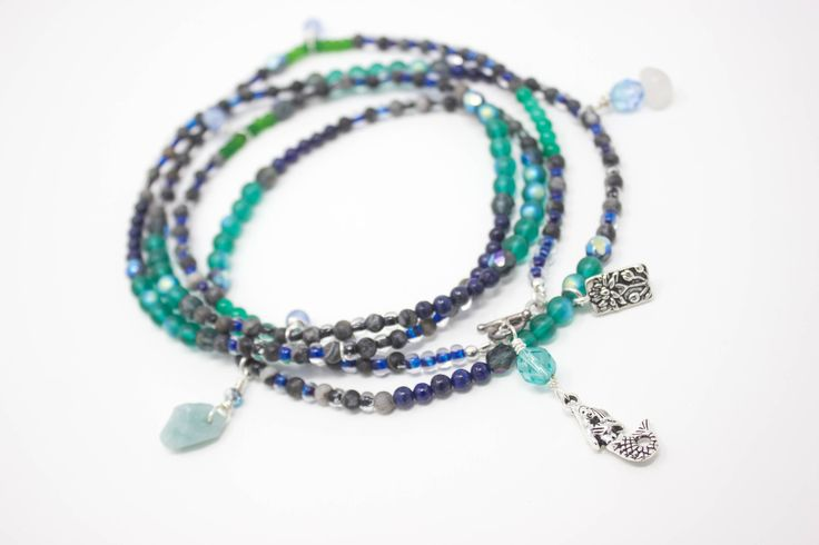 Long Beaded Wrap Bracelet, or Beaded Mermaid Necklace,  Beach Necklace, Nautical Necklace, Ocean Jewelry, Birthday Gift https://www.etsy.com/listing/522412102/long-beaded-wrap-bracelet-or-beaded?utm_campaign=crowdfire&utm_content=crowdfire&utm_medium=social&utm_source=pinterest