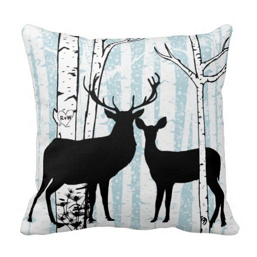 This pretty nature and wildlife throw pillow is a great gift for the one you love! Features two black silhouette deer, a buck and a doe, on the pillow front in a forest of white birch with the blue sky showing through the trees. The largest birch tree has a heart carved into it that has initials you can customize. The pillow back has the white birch trees, blue sky, and a big heart that matches the smaller one on front with an area you can add your name and that of someone you love!