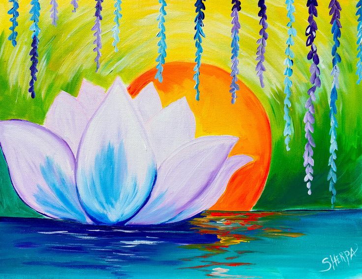 Lotus Flower Dawn Zen acrylic painting easy canvas ideas for The Art sherpa on Youtube
