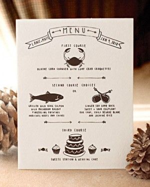 menu: Menu Design, Idea, Menu Cards, Dinners Menu, Martha Stewart, Hands Drawn, Wedding Design, Wedding Details, Wedding Menu