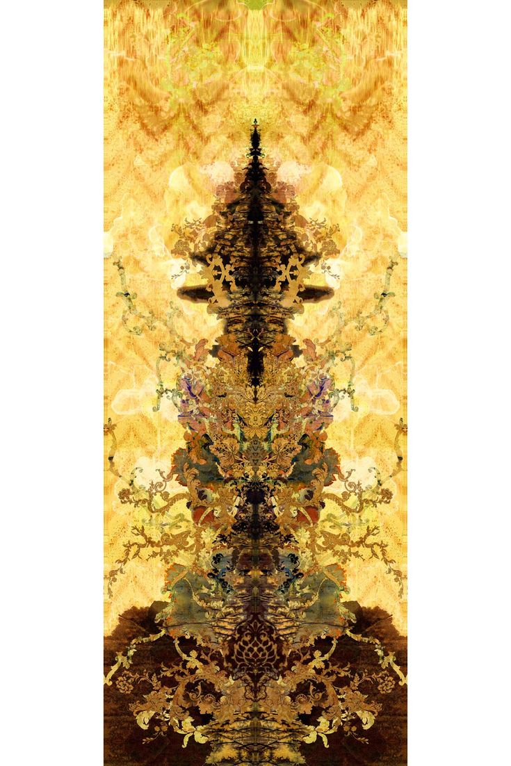 Paper Damask Superwide Panel Yellow
