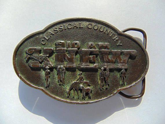 1981 Classical Country 910 AM KNEW Radio Station Vintage Brass Belt Buckle by Walter W. Cribbins Co. Inc. http://etsy.me/2uGO7ne via @Etsy