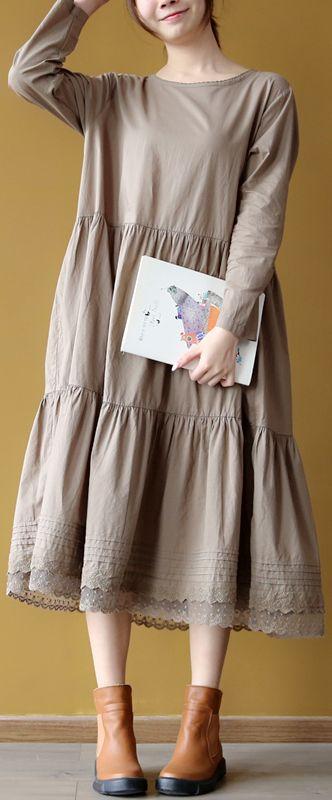 khaki cotton caftans oversized patchwork gown vintage embroidery kaftans