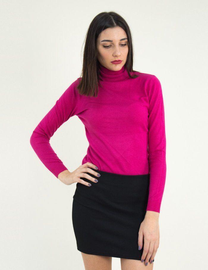 c933d121ef59 Γυναικείο φούξια πουλόβερ ζιβάγκο μονόχρωμο MX3009C  plekto  gynaikeio   torouxo  eshop  online  γυναικεια