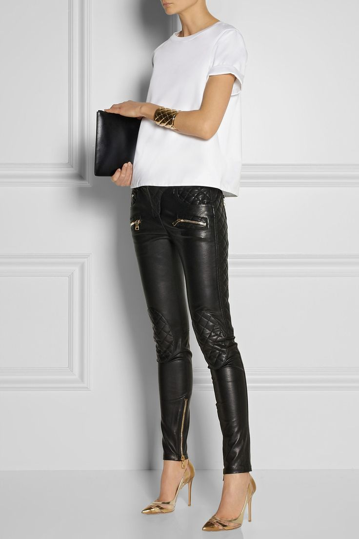 BALMAIN Quilted leather skinny pants $3,690 EDITOR'S NOTES Balmain's supple leather pants have moto-inspired quilted panels and gold zippers. Cut skinny and fully lined in cotton for the smoothest feel, they'll streamline your figure in the most flattering way. Shown here with: Valentino top, Balmain cuff, Gianvito Rossi shoes, Jil Sander clutch.