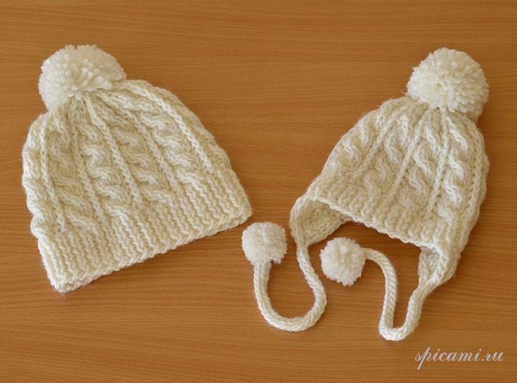 шапочки с помпонами