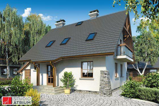ADA – bardzo lubiany model domu ze względu na optymalne wykorzystanie powierzchni i proste rozwiązania funkcjonalne. Całość posadowiona na rzucie zbliżonym do kwadratu (plus garaż) i przykryta 2-spadowym dachem, przy wejściu wspartym drewnianymi filarami.