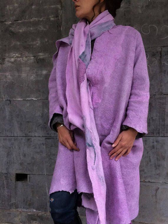This item is MADE TO ORDER. Please allow 8-10 days to complete your order +shipping time. Thank you all so much for your patience!!! One side of the coat is ashen gray with purple-pink designe elements, and the other side of the coat is pink with a texture. The scarf is included in