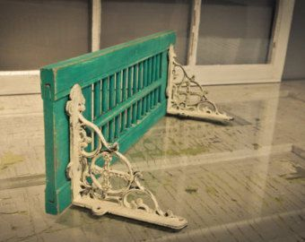 "repurposed items | Vintage Shutter-Shelf Repurposed Peacock Blue 19"" Rustic Home Décor ..."