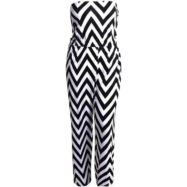 Boohoo Plus Katy Monochrome Wide Leg Jumpsuit ($30) ❤ liked on Polyvore featuring jumpsuits, jumpsuits & rompers, jump suit, jumpsuits and rompers, wide leg jumpsuit and jumpsuit