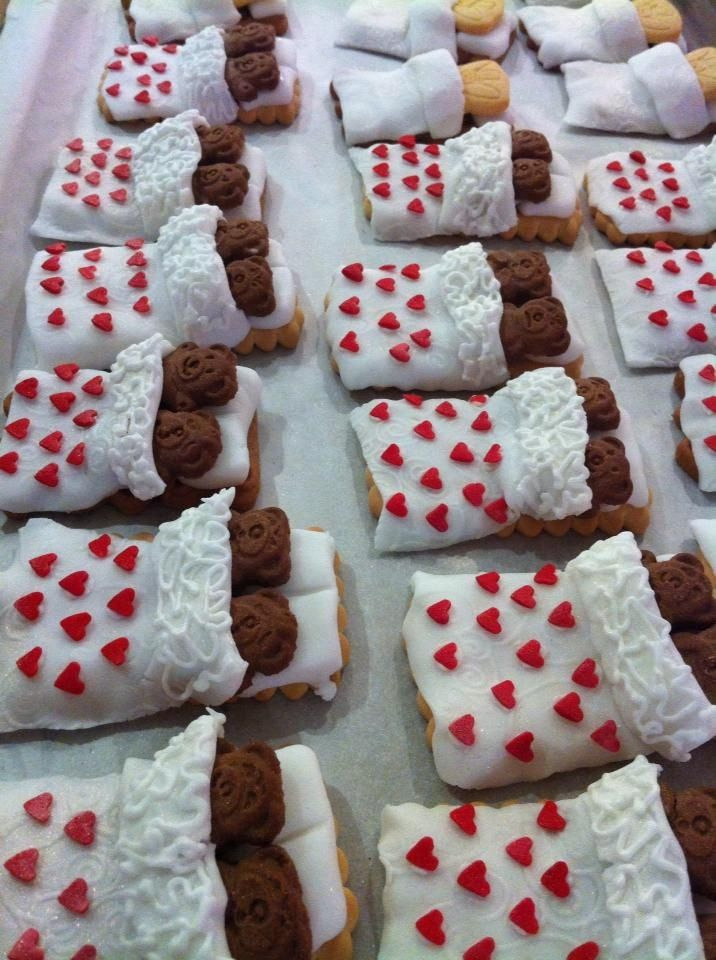 """Wedding """"Tiny Teddy in Bed"""" biscuits, by Christine Titheradge"""