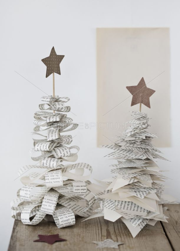 ☆quick, easy Christmas trees from old book pages.: