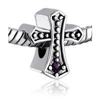 Pugster Cross And Amethyst Crystal Silver Plated European Bead