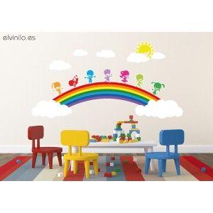 Vinilo niños arcoiris