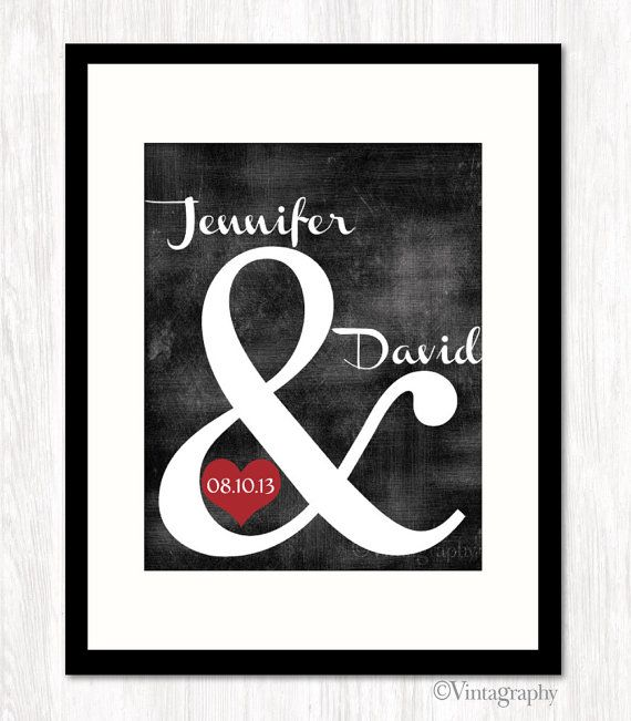 Personalized Wedding Gift, Ampersand Print, Custom Wedding Gift, Couples Name, Wedding or Anniversary Date, CHOOSE COLOR, 8x10