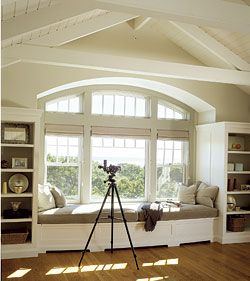 Window seat!Windows Benches, Dreams, Big Windows, Windows Seats, Living Room, Bookcas, Master Bedrooms, Reading Nooks, Window Seats