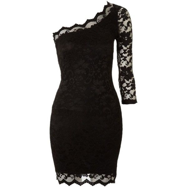John Zack One shoulder lace dress ($36) found on Polyvore. (Sarah Thomas, this totally reminds me of you!)