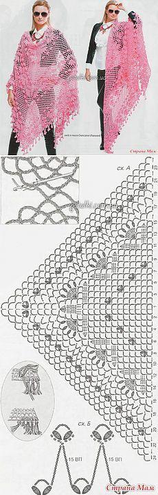Шаль изысканным узором крючком - Вязание - Страна Мам