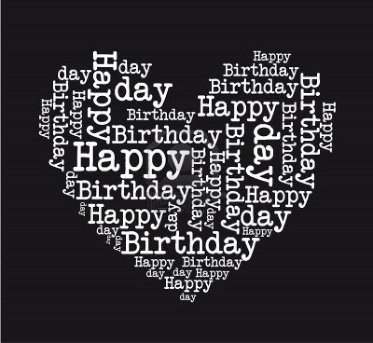 black and white happy birthday heart isolated vector illustration Stock Photo - 12136541