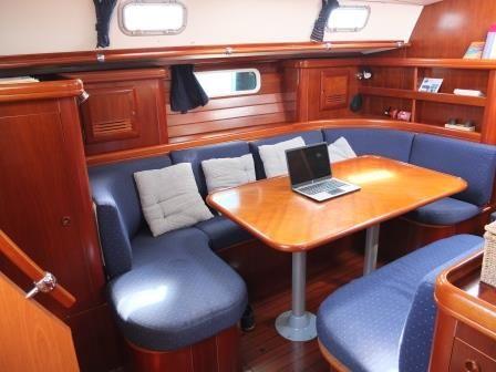 Dinette / living area detail of Cochiel SailYacht, great beneteau 50, 15 mt long,   to charter it mycochielATgmail.com  check www.facebook.com/cochielsailyacht