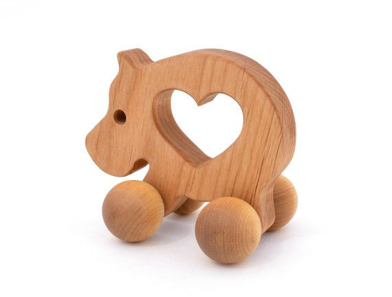Wooden Push Toy  Waldorf Wood Animal Toy   Natural by KeepsakeToys, $24.00