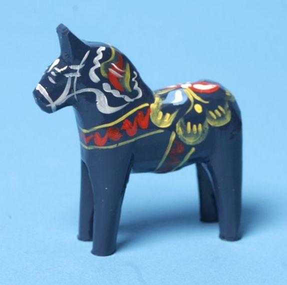 "Carved Wooden Dala Horse (Dalahäst) - Blue 3"" Tall ---------- Nils Olsson Dala Horses( Dalahästar) - Since 1928 The Premier Dala Horse Workshop - Swedish National Symbol - The Scandinavian Folk Art Ha"