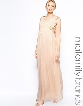 Little+Mistress+Maternity+Grecian+Maxi+With+Embellished+Shoulders (ASOS)  For a more subtle, etherial and flowy look