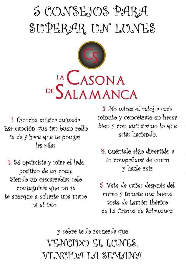 5 Consejos para superar un lunes. http://www.jamonibericosalamanca.es/es/