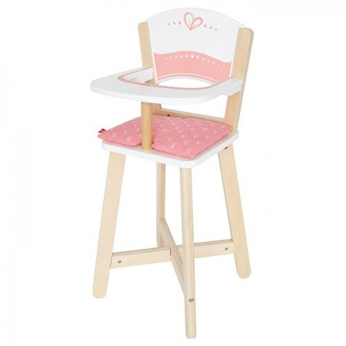 Hape - Baby Highchair: This mini highchair encourages dolls to sit up straight and eat their food. Imagination & Creativity: Encourages imitative and imaginary play; promotes fantasy story telling, role playing, and creativity. Social Skills: The basics of communication, cooperation, and collaboration; encourages trust, friendship, and language development. #alltotstreasures #hapehighchair #pretendplay #roleplay #woodenhighchair