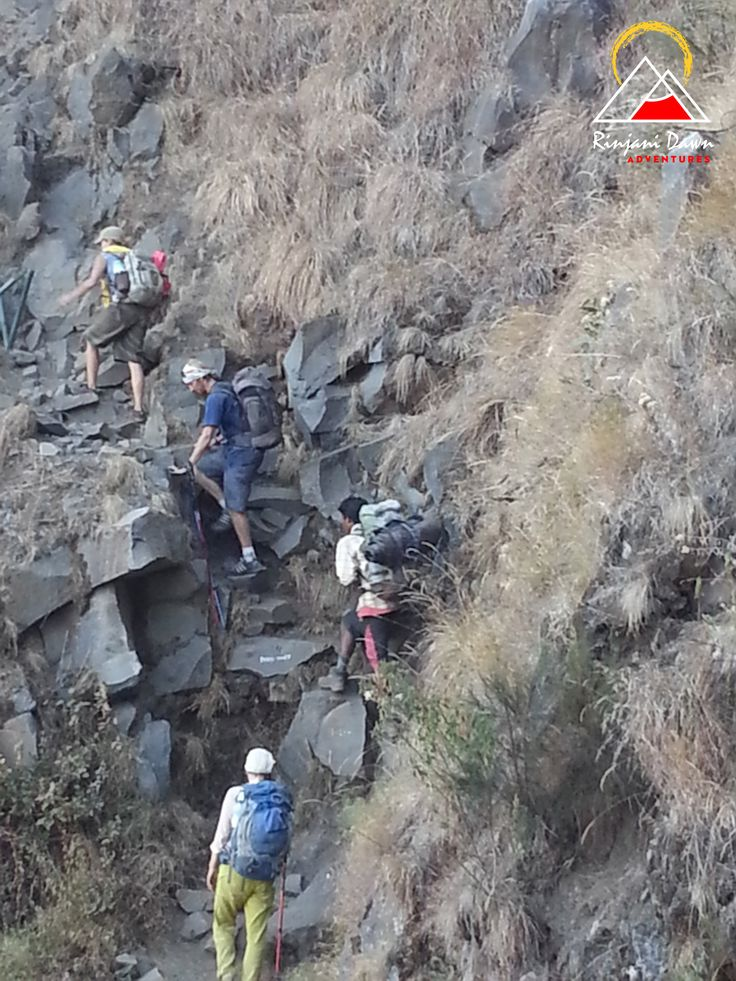 A steeper part of the trek - climbing up to Plawangan Senaru.