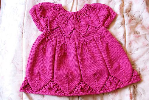 """...the sleeves in the round. I did 5 rows of seed stitch for the edges of the sleeves.  <span class=""""best-highlight"""">I think if I were to do this again, I would choose a dk</span> rather than a worsted. I worry this dress will be heavy. A dk yarn would make it more delicate looking. I a..."""
