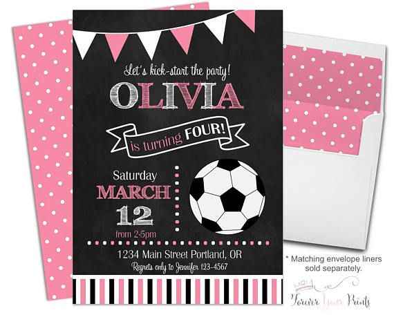 Soccer Birthday Invitations - Soccer Party Invitations Girl - Soccer Party Invites - Girls Soccer Invitation - Football Invitation Girl