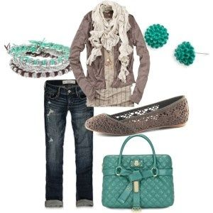 turquoise and gray outfit.  LOVE!!!!