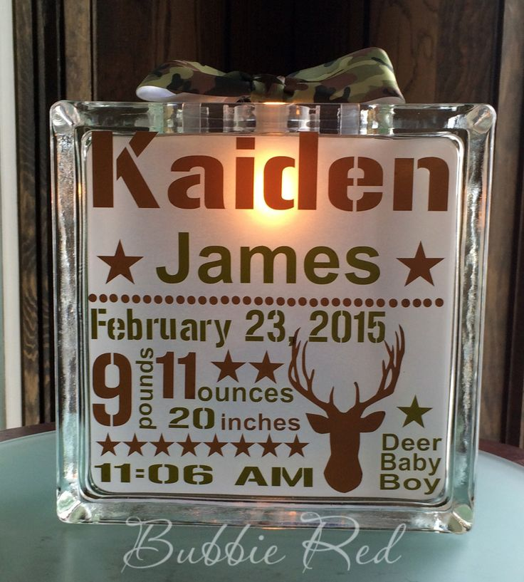 Personalized Glass Block Night Light, Camo Baby, Camouflage Baby,  Birth Statistics Glass Block ,Night Light Hunting Camo, Hunting Baby by BubbieRed on Etsy