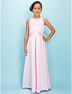 Lanting Bride® Floor-length Satin Junior Bridesmaid Dress A-line Jewel Natural with Draping / Flower(s) / Sash / Ribbon – USD $ 59.99