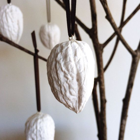 Walnut christmas decorations - set of five white cast plaster ornaments, handmade in Australia by Kuberstore