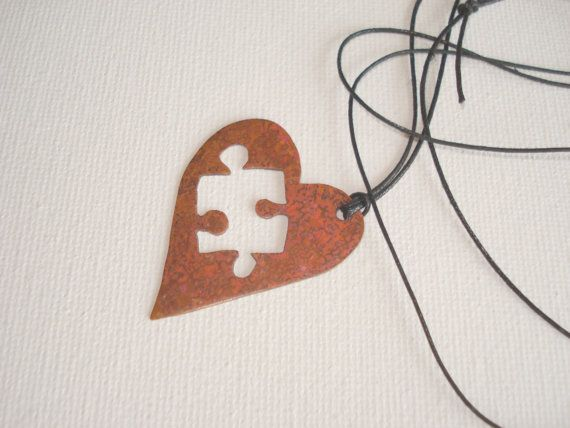 Valentines copper heart necklace handmade puzzle by PenelopeStudio, $26.00