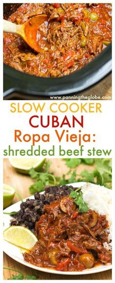 Slow Cooker Ropa Vieja: Cuba's famously delicious shredded beef stew with tomatoes, peppers and olives.