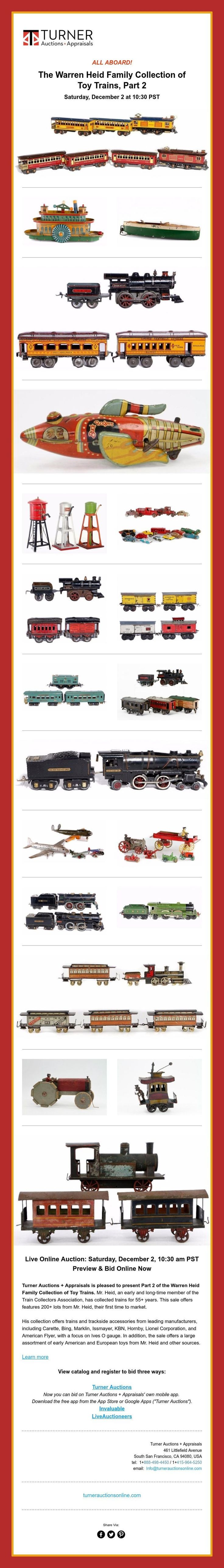 ALL ABOARD!  The Warren Heid Family Collection of Toy Trains, Part 2Saturday, December 2 at 10:30 PST
