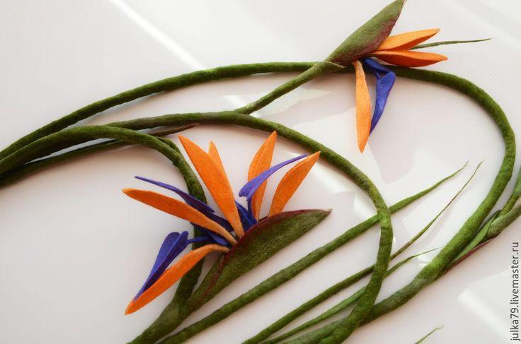 Купить Стрелиция лиана - оранжевый, стрелиция, украшение на шею, цветы из шерсти, украшение из шерсти, цветы