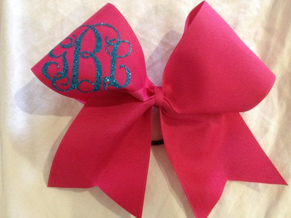 Simple Monogrammed cheer bow  by PalmettoPrincessShop on Etsy, $18.00