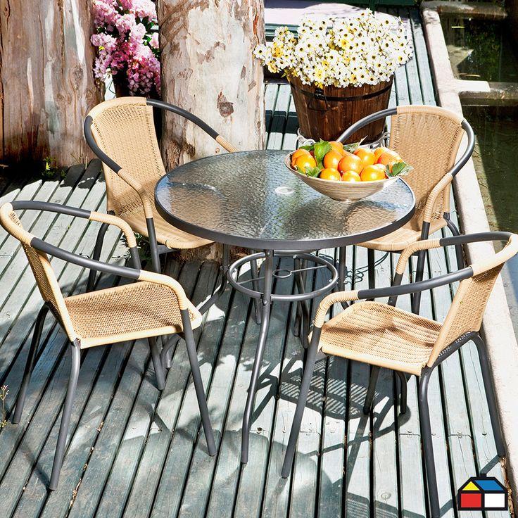 Juego de #terraza metálico con ratán de PE 5 piezas