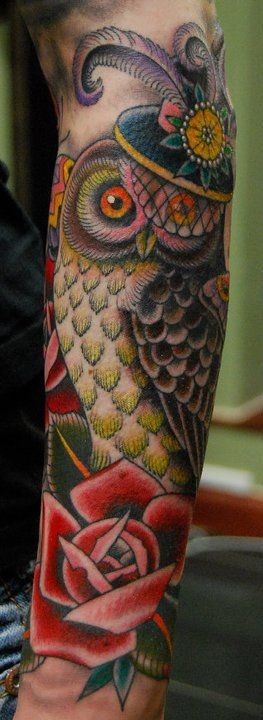 owl hat rose tattoo