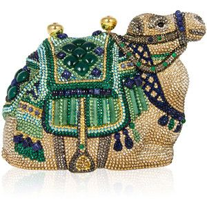 Judith Leiber Couture Sodalite & Green Onyx Crystal Camel Clutch Bag