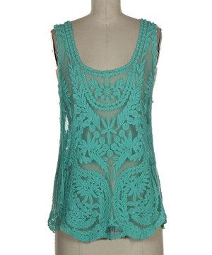 Another great find on #zulily! r.bryant Teal Crocheted Sleeveless Top by r.bryant #zulilyfinds