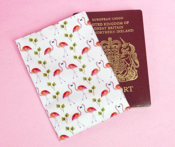 Flamingo passport cover  flamingo travel wallet  flamingo