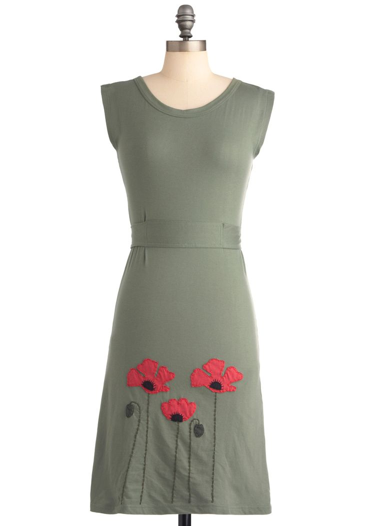 Planting Poppies Dress - Mid-length, Casual, Green, Red, Solid, Embroidery, Sheath / Shift, Sleeveless, Flower