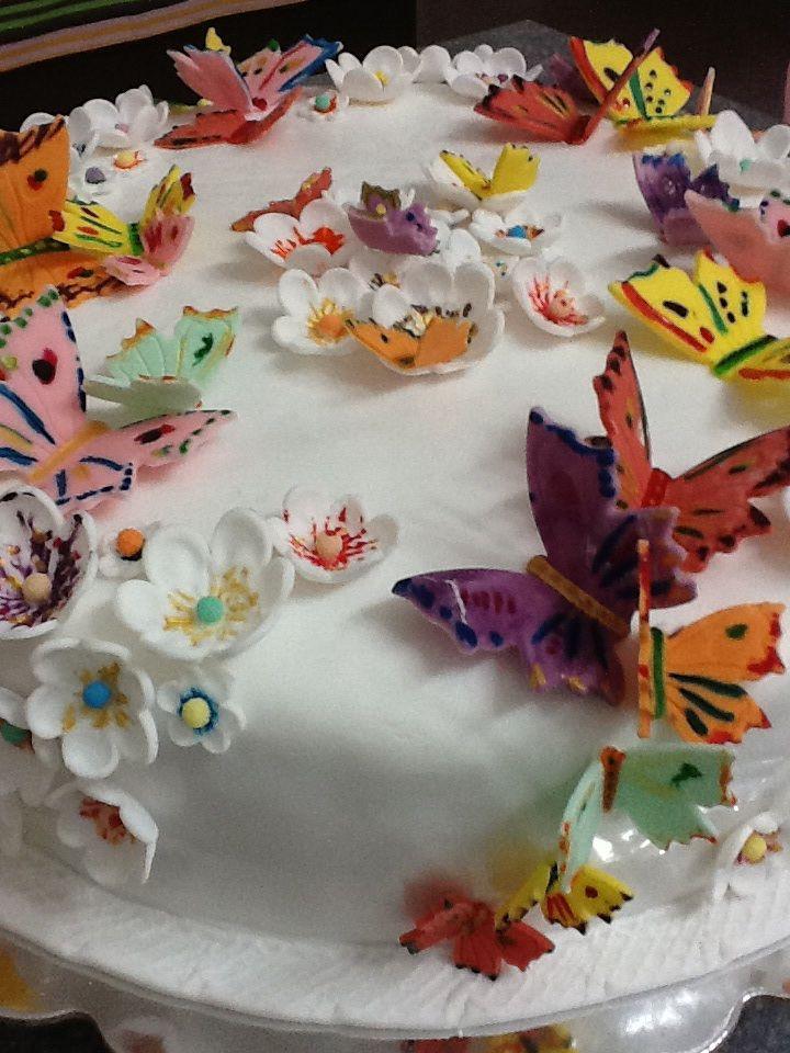 Choco cake with fondant  butterflies